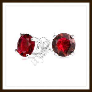 CZ Garnet Stud Earrings Sterling Silver